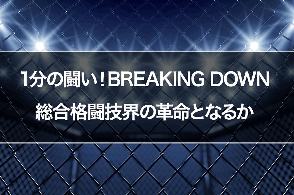 【朝倉未来監修】1分間最強の男を決めるBREAKING DOWN 総合格闘技界の革命となるか